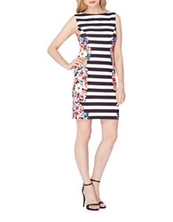Tahari By Arthur S. Levine Petite Floral And Stripe Print Crepe Sheath Dress Black White