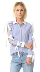Endless Rose Cold Sleeve Shirt Powder Blue Combo