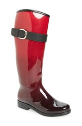 Dav Women's 'Bristol' Weatherproof Knee High Rain Boot Ombre Crimson