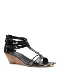 Isola Phoenix Embossed Leather Wedge Sandals Black