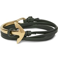 Miansai Leather And Gold Plated Anchor Wrap Bracelet Dark Green