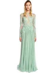Elie Saab Tulle And Georgette Dress W Macrame Lace Blue