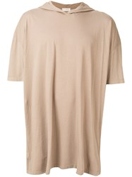 Faith Connexion Oversized Hooded Tag T Shirt Nude And Neutrals