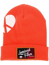 Woolrich Logo Patch Beanie Yellow And Orange