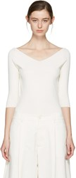Studio Nicholson Ivory Off The Shoulder Pullover