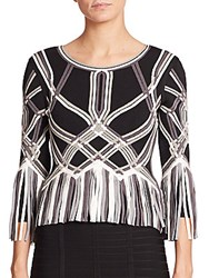 Herve Leger Fringe Trim Interweaving Bandage Top Black