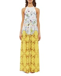 Ted Baker Passion Flower Maxi Dress Swim Cover Up Yellow