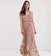Asos Design Tall Tulle Maxi Dress With Delicate Floral Embroidery And Twist Straps Blue