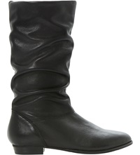 Dune Relissa Slouchy Leather Boots Black Leather