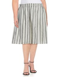 B Collection By Bobeau Florence Striped A Line Skirt Charcoal