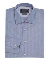 Saks Fifth Avenue Collection Bengal Striped Dress Shirt Blue