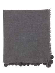 Jigsaw Soraya Wool Pom Edge Scarf Dark Grey