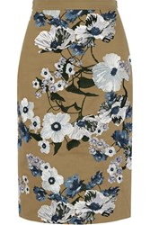 Erdem Aysha Embroidered Cotton Canvas Skirt Tan