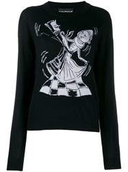 Boutique Moschino Chess Dancers Extrafine Wool Sweater Black