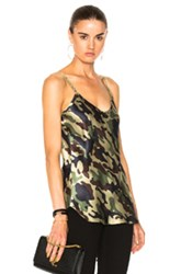 Nili Lotan Cami Top With Velvet Straps In Abstract Green Abstract Green