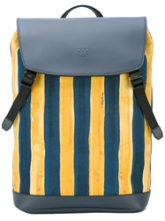 Fendi Watercolour Striped Backpack Men Cotton Leather One Size Blue