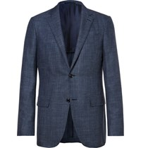 Ermenegildo Zegna Blue Slub Wool Silk And Linen Blend Blazer Blue