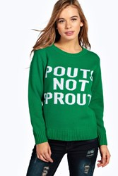 Boohoo Grace Pouts Not Sprouts Christmas Jumper Green