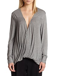 Derek Lam Draped Wrap Effect Jersey Top Grey Melange