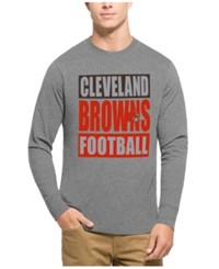 47 Brand '47 Men's Cleveland Browns Compton Club Long Sleeve T Shirt Heather Gray Orange