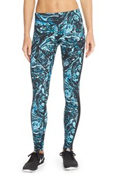 Women's Zella 'Live In' Mesh Inset Leggings Blue Blink Luxe Marble Print