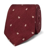 Dunhill 7Cm Paisley Embroidered Herringbone Linen And Mulberry Silk Blend Tie Burgundy