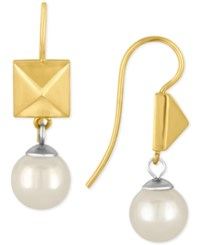 Majorica Two Tone Imitation Pearl And Pyramid Drop Earrings Two Tone