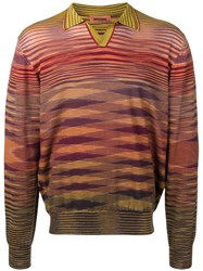 Missoni Knitted Patterned Polo Shirt Brown