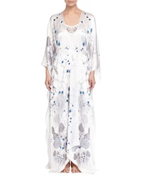 Meng Printed Satin Long Robe White Pattern
