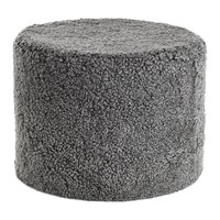 Amara Short Wool Curly Pouf Grey