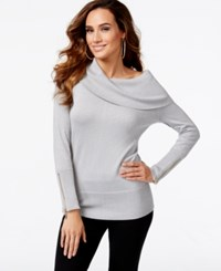 Thalia Sodi Zipper Embellished Cowl Neck Sweater Only At Macy's Silver