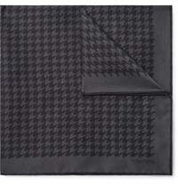 Tom Ford Houndstooth Silk Twill Pocket Square Gray