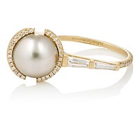 Monique Pean Women's White Diamond And Tahitian Pearl Ring No Color