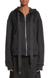 Marques Almeida Women's Marques'almeida Grosgrain Drawstring Zip Hoodie Black