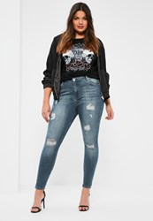 Missguided Plus Size Blue High Waisted Ripped Skinny Jeans