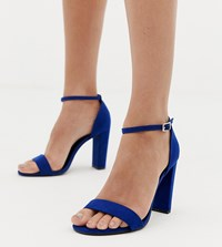 New Look Wide Fit Block Heeled Sandal In Blue Mid Blue