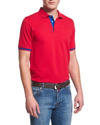 Kiton Short Sleeve Snap Placket Pique Polo Shirt Red Men's
