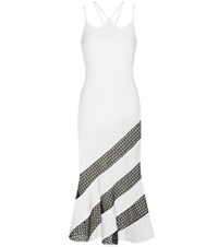 David Koma Crepe Striped Dress White