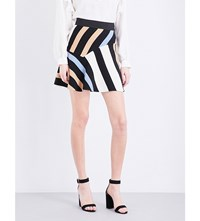 Sandro Killim Striped Twill Skirt Blue
