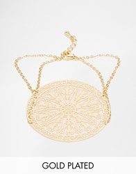 Ny Lon Nylon Gold Plated Filigree Disk Bracelet Gold Plated