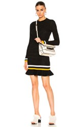 3.1 Phillip Lim Long Sleeve Dress In Black Stripe White Yellow Black Stripe White Yellow