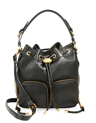 Badgley Mischka Poppy Leather Drawstring Crossbody Bag Black