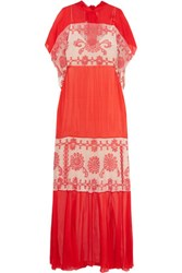 Temperley London Evadine Paneled Embroidered Tulle And Silk Blend Chiffon Maxi Dress Tomato Red