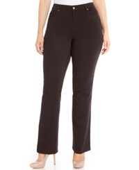 Charter Club Plus Size Lexington Colored Tummy Control Straight Leg Jeans Only At Macy's Smokey Claret