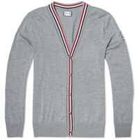 Moncler Gamme Bleu Tricolour Plackett Merino Cardigan Light Grey