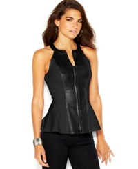 Guess Zip Front Faux Leather Paneled Peplum Halter Top Jet Black
