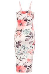 Quiz Cream And Coral Flower Print Bodycon Dress