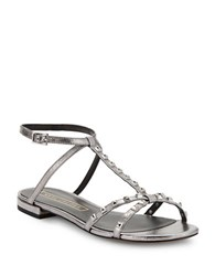 Marc Jacobs Ana Studded Metallic Leather Sandals Dark Silver