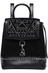 Rebecca Minkoff Woman Leather Paneled Studded Suede Backpack Black