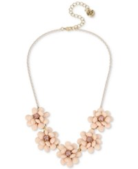 Betsey Johnson Pink Plated Gold Tone Crystal Flower Collar Necklace